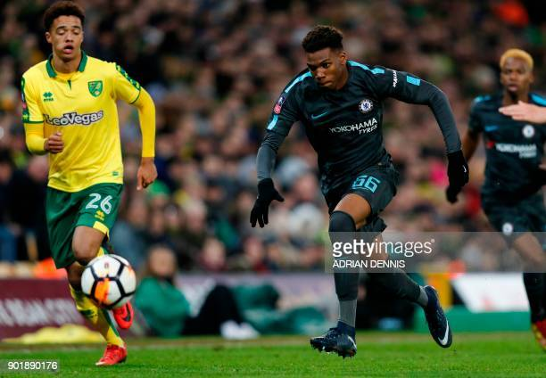 Chelsea's English defender Dujon Sterling runs with the ball during the English FA Cup third round football match between Norwich City and Chelsea at...