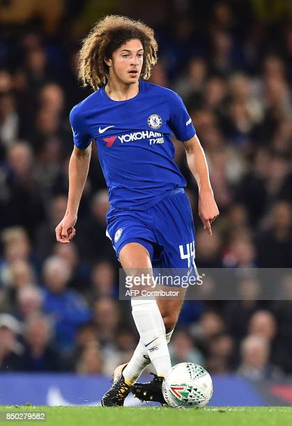 Chelsea's English defender Ethan Ampadu controls the ball during the English League Cup third round football match between Chelsea and Nottingham...