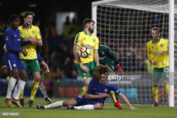 Chelsea's English defender Ethan Ampadu misses a header from a corner in front of Norwich City's Bosnian midfielder Mario Vrancic during the FA Cup...