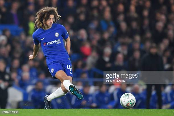 Chelsea's English defender Ethan Ampadu shoots during the English League Cup quarterfinal football match between Chelsea and Bournemouth at Stamford...