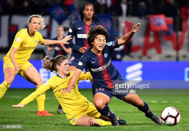 Chelsea's English defender Hannah Blundell tackles Paris SaintGermain's Chinese midfielder Shuang Wang during the UEFA Women's Champions League...
