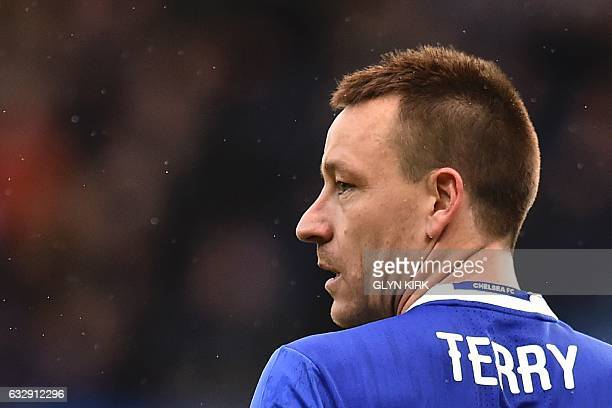 Chelsea's English defender John Terry looks on during the English FA Cup fourth round football match between Chelsea and Brentford at Stamford Bridge...