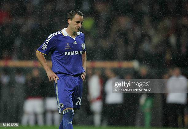 Chelsea's English defender John Terry misses his penalty during the final of the UEFA Champions League football match against Manchester United at...