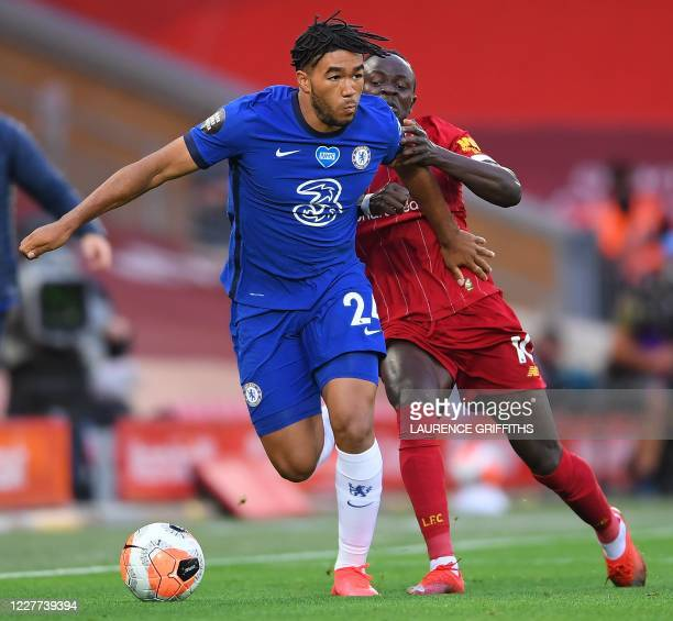 Chelsea's English defender Reece James vies with Liverpool's Senegalese striker Sadio Mane during the English Premier League football match between...