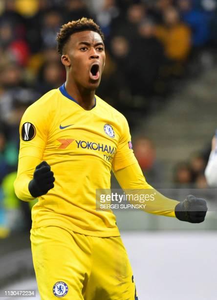 Chelsea's English forward Callum HudsonOdoi celebrates after scoring a goal during the UEFA Europa League round of 16 second leg football match...