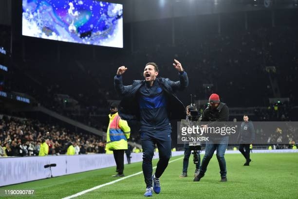 TOPSHOT Chelsea's English head coach Frank Lampard celebrates their win on the pitch after the English Premier League football match between...