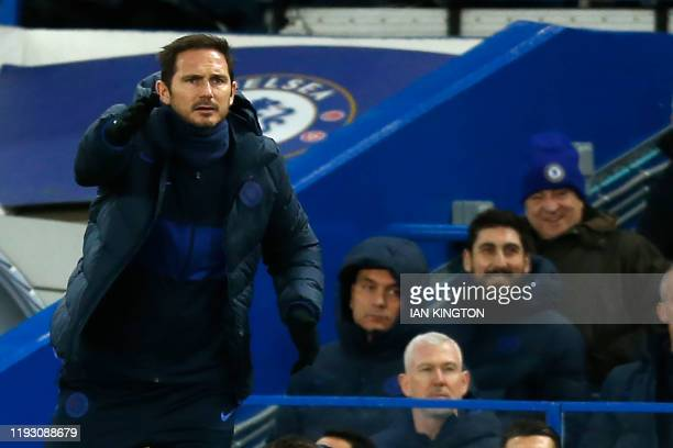 Chelsea's English head coach Frank Lampard gestures during the English Premier League football match between Chelsea and Burnley at Stamford Bridge...
