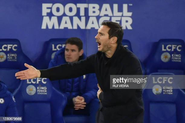 Chelsea's English head coach Frank Lampard gestures during the English Premier League football match between Leicester City and Chelsea at the King...