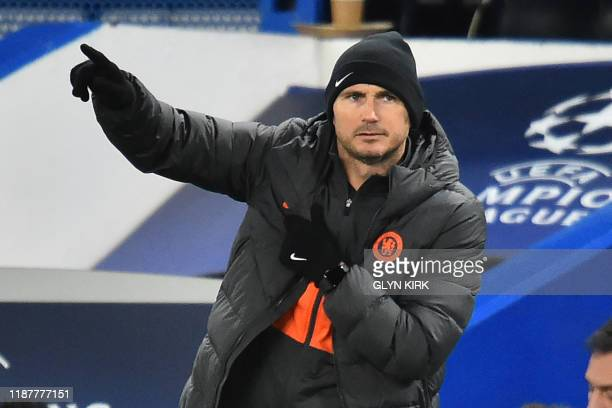 Chelsea's English head coach Frank Lampard gestures on the touchline during the UEFA Champion's League Group H football match between Chelsea and...