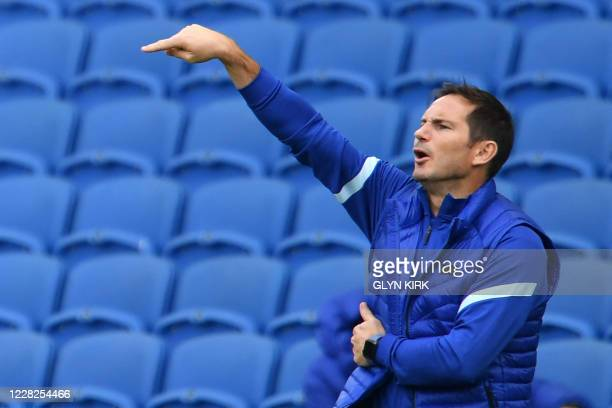 Chelsea's English head coach Frank Lampard gestures on the touchline during the pre-season friendly football match between Brighton and Hove Albion...