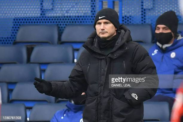 Chelsea's English head coach Frank Lampard looks on during the English FA Cup fourth round football match between Chelsea and Luton Town at Stamford...
