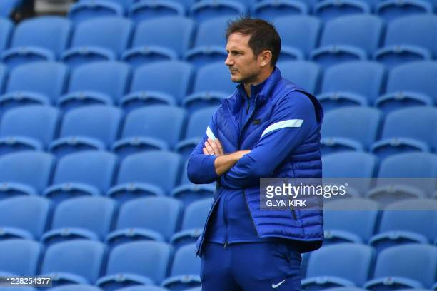 Chelsea's English head coach Frank Lampard looks on during the pre-season friendly football match between Brighton and Hove Albion and Chelsea at the...