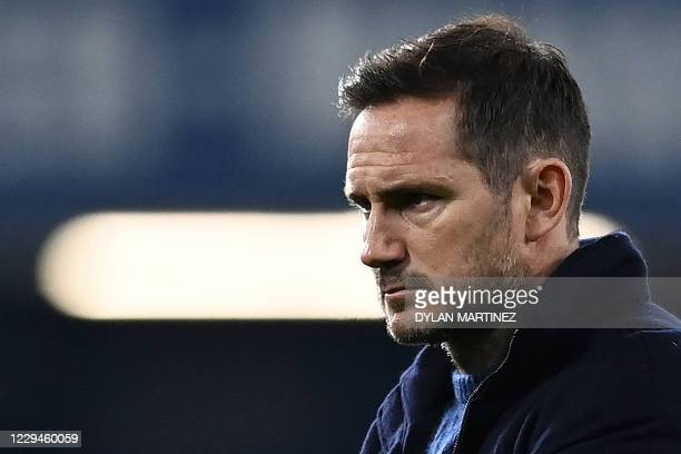 Chelsea's English head coach Frank Lampard reacts ahead of the UEFA Champions League Group E football match between Chelsea and Rennes at Stamford...