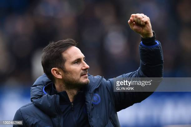 Chelsea's English head coach Frank Lampard reacts at the final whistle during the English Premier League football match between Chelsea and Tottenham...