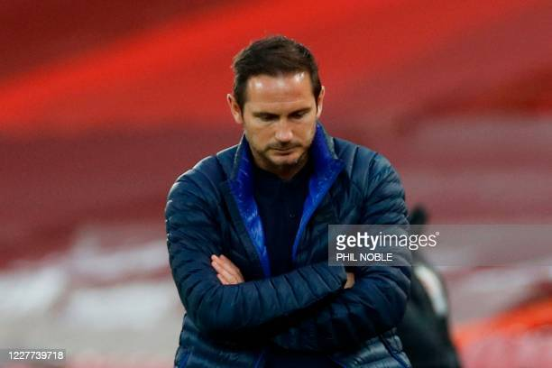Chelsea's English head coach Frank Lampard reacts on the touchline during the English Premier League football match between Liverpool and Chelsea at...