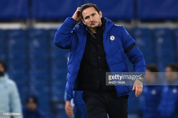 Chelsea's English head coach Frank Lampard reacts to their defeat on the pitch after the English Premier League football match between Chelsea and...