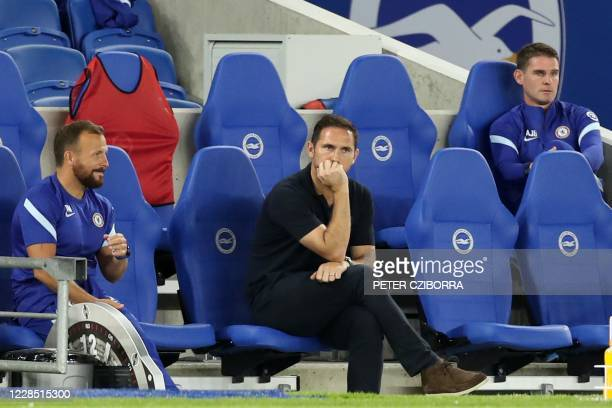 Chelsea's English head coach Frank Lampard waits for kick off in the English Premier League football match between Brighton and Hove Albion and...
