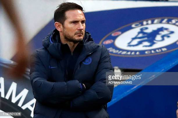 Chelsea's English head coach Frank Lampard watches from the touchline during the English Premier League football match between Chelsea and...