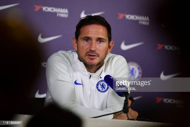 Chelsea's English manager Frank Lampard gives a press conference at Chelsea's Cobham Training Centre in Stoke DAbernon south of London on August 16...