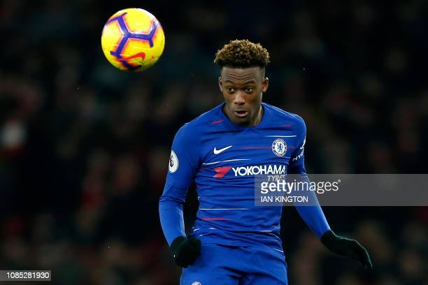 Chelsea's English midfielder Callum HudsonOdoi heads the ball during the English Premier League football match between Arsenal and Cheslea at the...