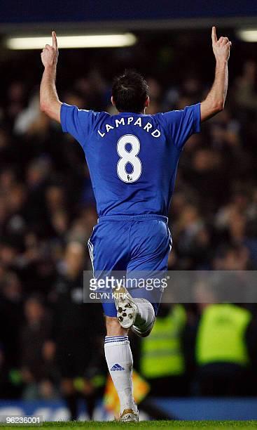 Chelsea's English midfielder Frank Lampard celebrates scoring a goal during their English Premier League football match against Birmingham at...