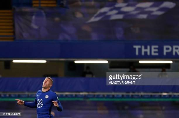 Chelsea's English midfielder Ross Barkley celebrates scoring his team's third goal during the English League Cup third round football match between...