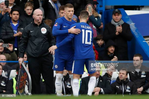 Chelsea's English midfielder Ross Barkley comes on for Chelsea's Belgian midfielder Eden Hazard during the English FA Cup fourth round football match...