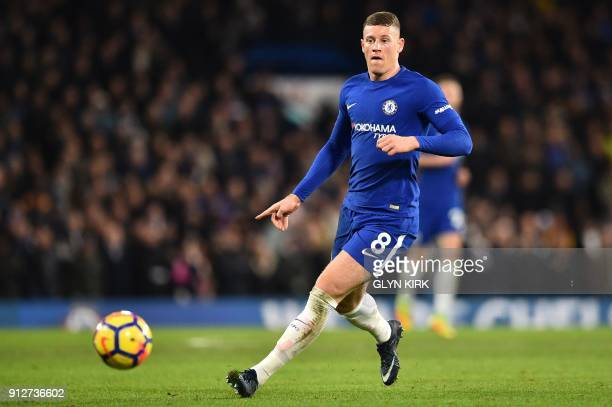 Chelsea's English midfielder Ross Barkley controls the ball during the English Premier League football match between Chelsea and Bournemouth at...