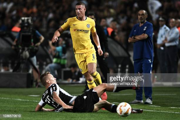 Chelsea's English midfielder Ross Barkley vies for the ball with PAOK's Swedish midfielder Pontus Wernbloom during the UEFA Europa League Group L...