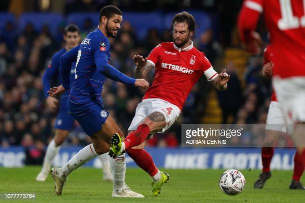 Chelsea's English midfielder Ruben LoftusCheek is fouled by Nottingham Forest's Scottish defender Danny Fox for a penalty during the English FA Cup...