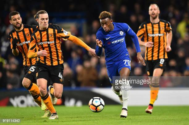 Chelsea's ENglish striker Callum HudsonOdoi vies with Hull City's Welsh midfielder Harry Wilson during the English FA Cup fifth round football match...