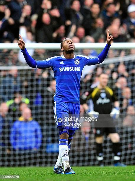Chelsea's English striker Daniel Sturridge celebrates scoring the first goal during their English Premier League football against Queens Park Rangers...