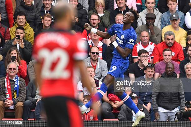 Chelsea's English striker Tammy Abraham celebrates after scoring the opening goal of the English Premier League football match between Southampton...