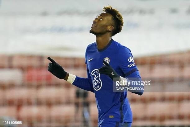 Chelsea's English striker Tammy Abraham celebrates after scoring the opening goal of the English FA Cup fifth round football match between Barnsley...