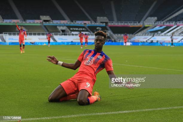 Chelsea's English striker Tammy Abraham celebrates scoring his team's second goal during the English Premier League football match between Newcastle...