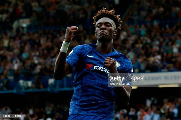 Chelsea's English striker Tammy Abraham celebrates scoring their second goal during the English Premier League football match between Chelsea and...
