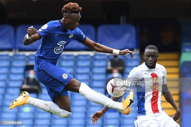Chelsea's English striker Tammy Abraham controls the ball during the English Premier League football match between Chelsea and Crystal Palace at...