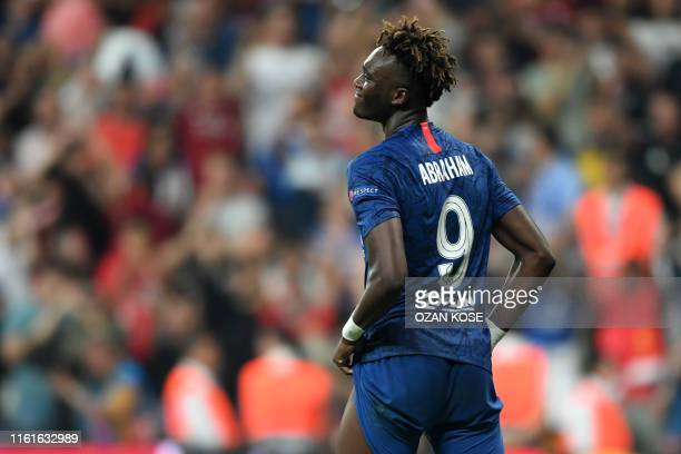 Chelsea's English striker Tammy Abraham reacts after failing his penalty during the shootout at the UEFA Super Cup 2019 football match between FC...