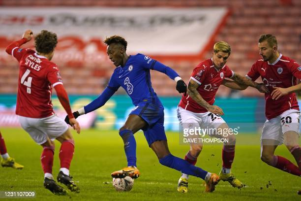 Chelsea's English striker Tammy Abraham runs with the ball during the English FA Cup fifth round football match between Barnsley and Chelsea at the...