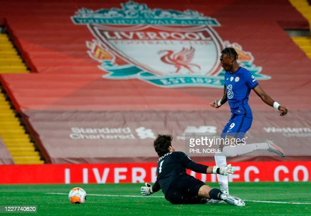 Chelsea's English striker Tammy Abraham scores their second goal during the English Premier League football match between Liverpool and Chelsea at...