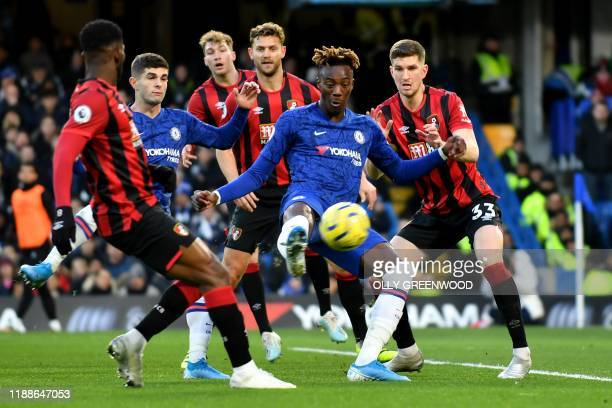 Chelsea's English striker Tammy Abraham takes a shot during the English Premier League football match between Chelsea and Bournemouth at Stamford...