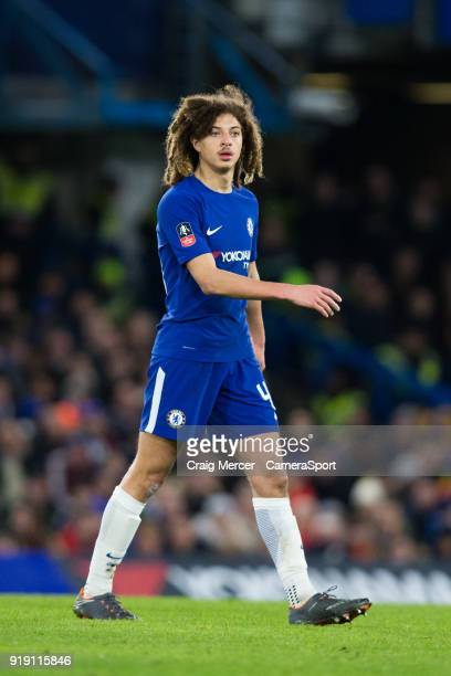 Chelsea's Ethan Ampadu during the The Emirates FA Cup Fifth Round match between Chelsea and Hull City at Stamford Bridge on February 16 2018 in...