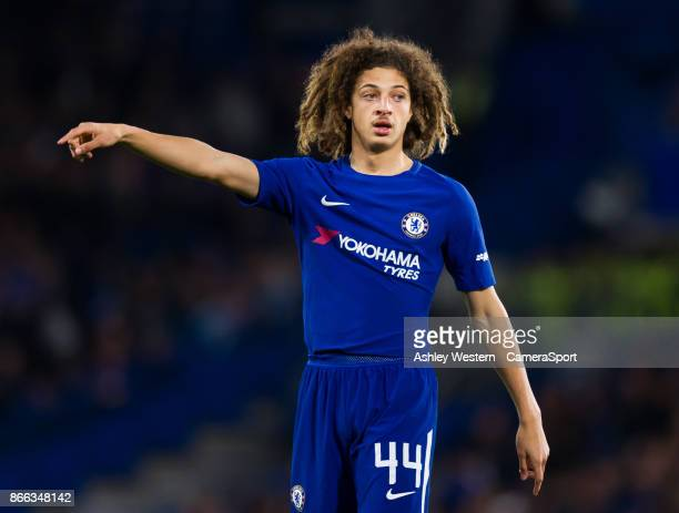 Chelsea's Ethan Ampadu in action during the Carabao Cup Fourth Round match between Chelsea and Everton at Stamford Bridge on October 25 2017 in...