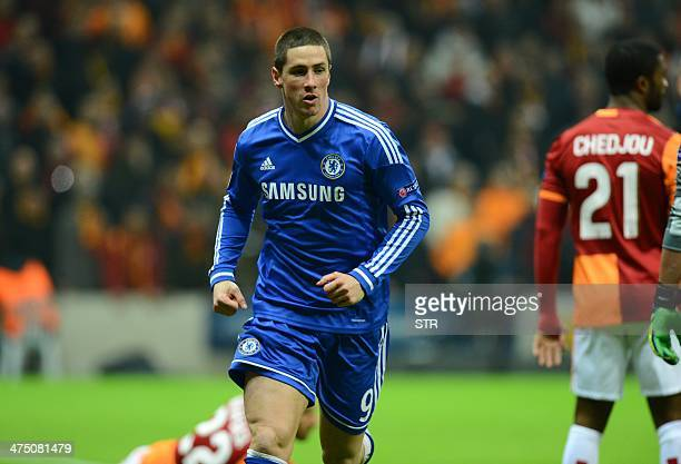 Chelsea`s Fernando Torres celebrates after scoring against Galatasaray during the UEFA Champions League round of 16 football match between...