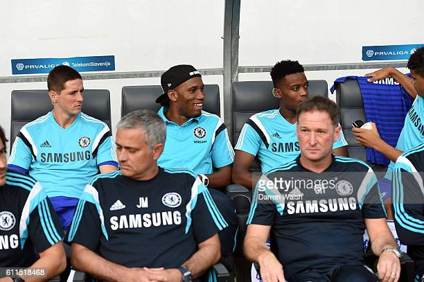 Chelsea's Fernando Torres Didier Drogba Nathaniel Chalobah during a pre season friendly match between NK Olimpija Ljubljana and Chelsea FC at the...