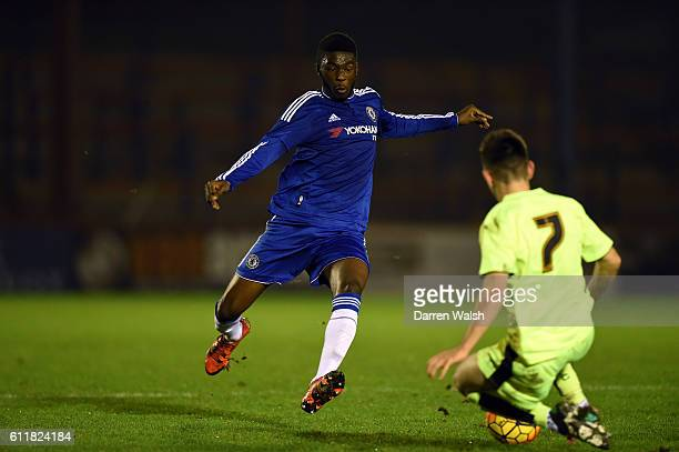Chelsea's Fikayo Tomori and Huddersfield Town's Jack Boyle during a 3rd Rd FA Youth Cup match between Chelsea U18 and Huddersfield Town U18 at The...