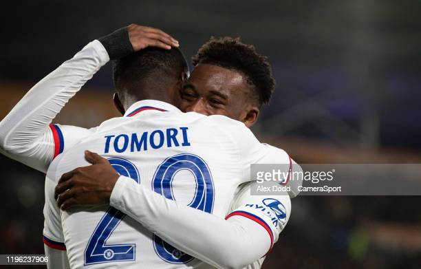 Chelsea's Fikayo Tomori celebrates scoring his side's second goal during the FA Cup Fourth Round match between Hull City and Chelsea at KCOM Stadium...