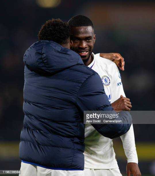 Chelsea's Fikayo Tomori celebrates with Callum HudsonOdoi after the FA Cup Fourth Round match between Hull City and Chelsea at KCOM Stadium on...
