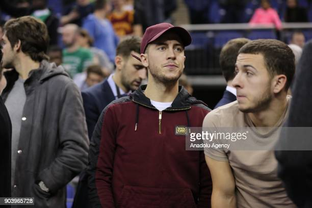 Chelseas football player Eden Hazard is seen during the NBA game between Boston Celtics and Philadelphia 76ers at the O2 Arena in London England on...
