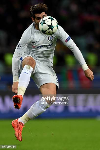 Chelsea's forward from Spain Alvaro Morata controls the ball during the UEFA Champions League Group C football match between Qarabag FK and Chelsea...